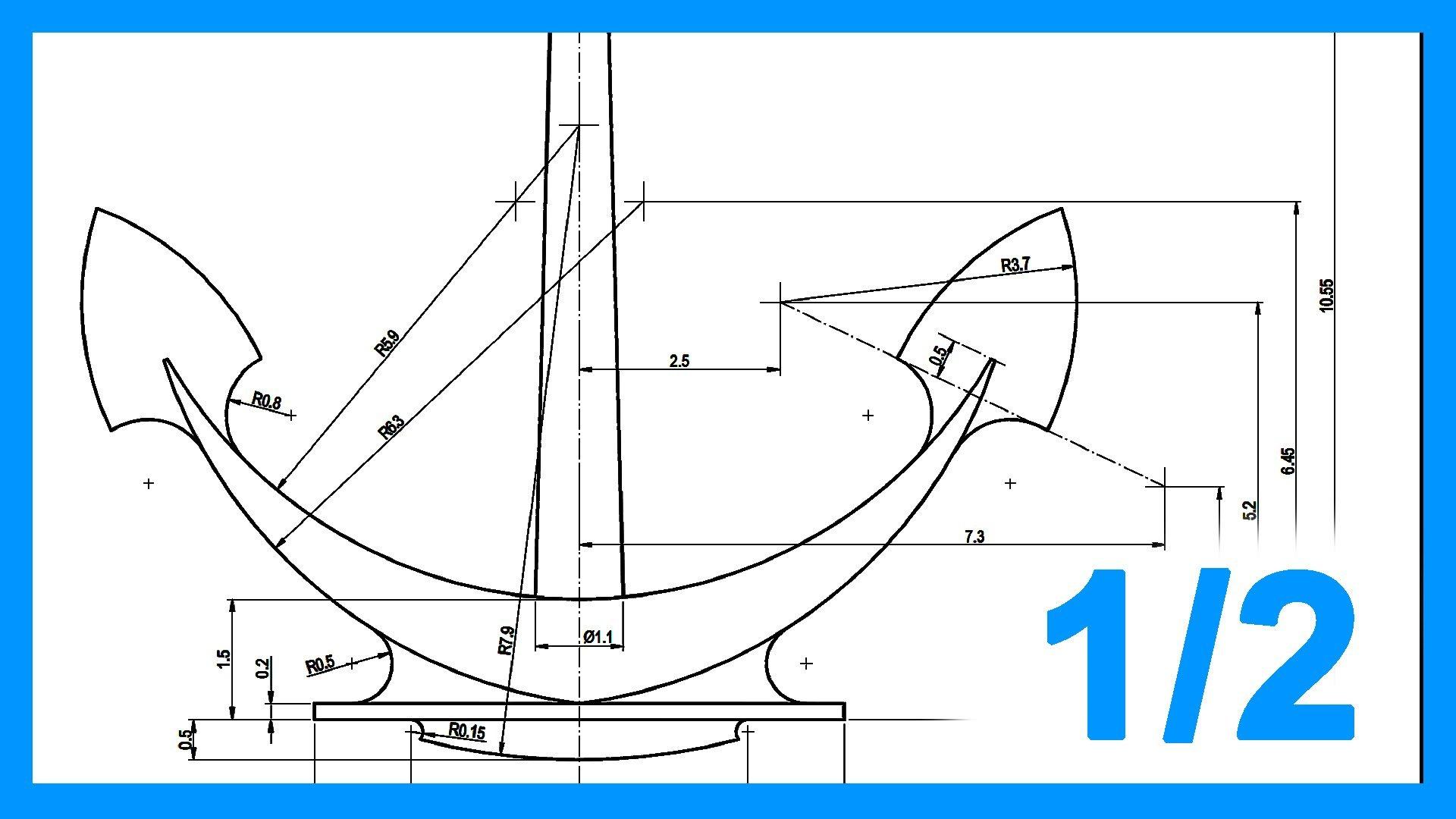 Autocad – 1/2 Ejercicio paso a paso dibujando Ancla 2D. Práctica 2D Autocad.
