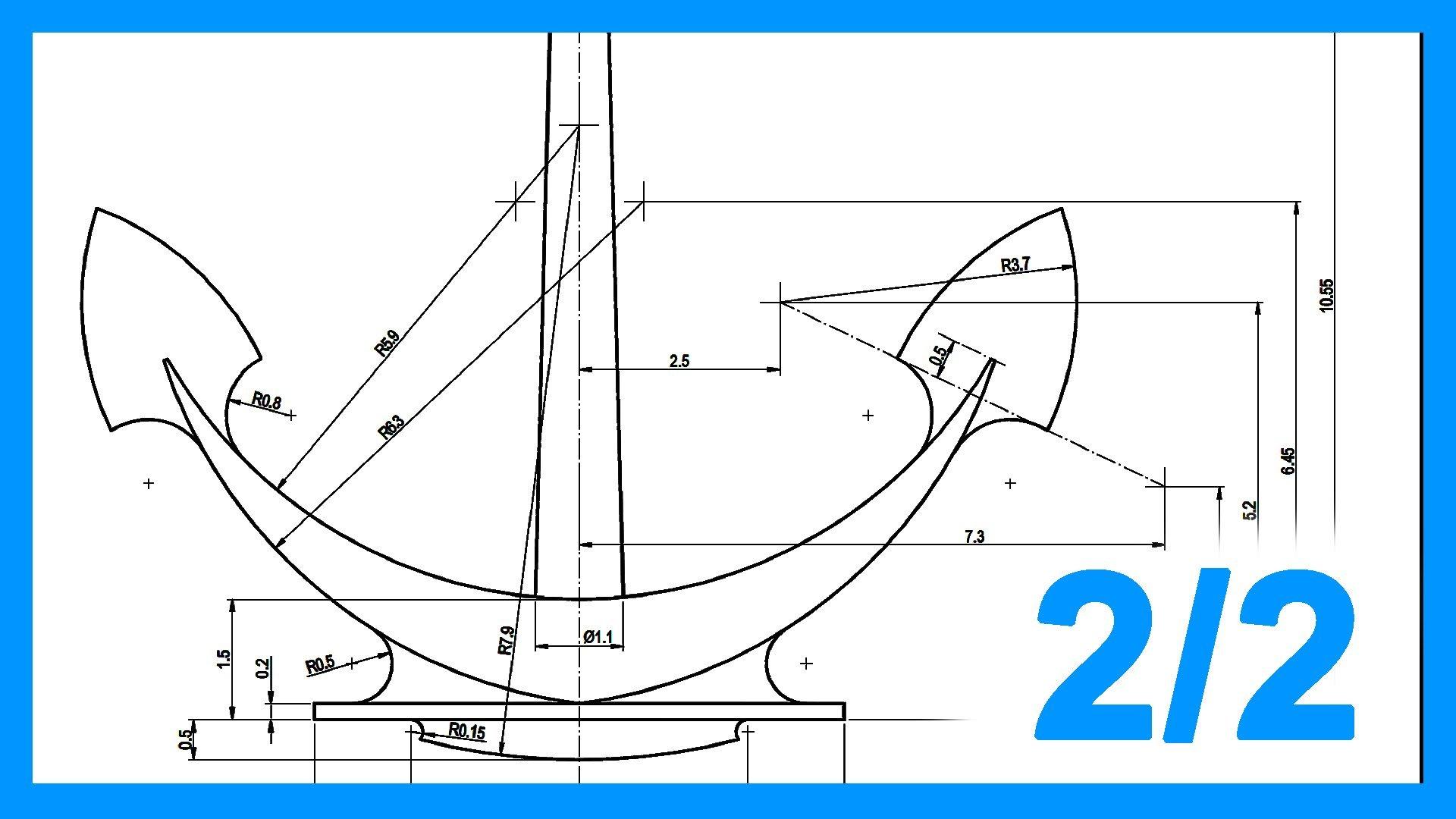 Autocad – 2/2 Ejercicio paso a paso dibujando Ancla 2D. Práctica 2D Autocad.