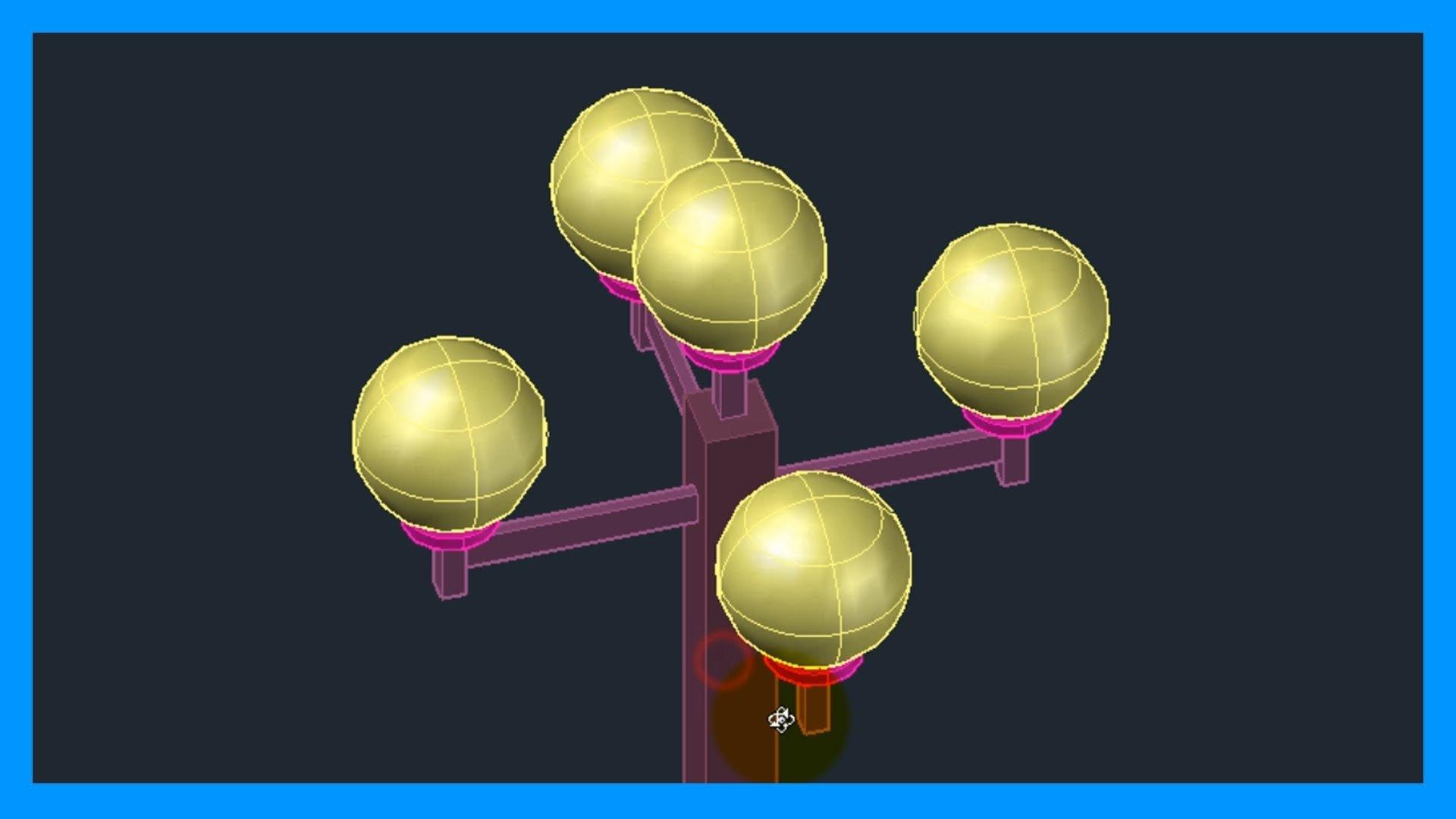 Autocad – 7/7 Iniciación 3D, básico 3D: Modelado de farola 3D paso a paso.