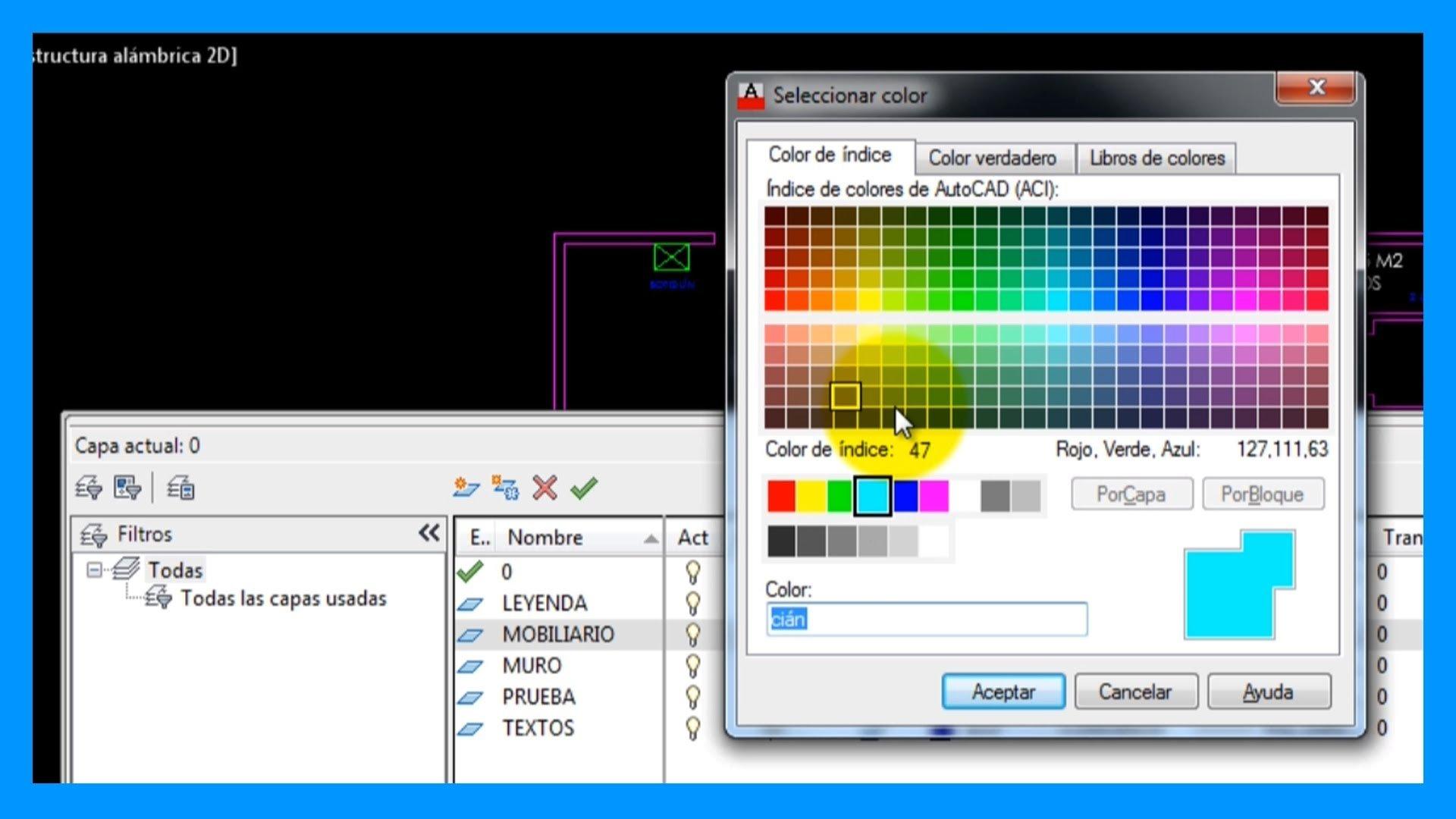 Autocad – Crear capas y configurarlas con el Administrador de Propiedades de Capas.
