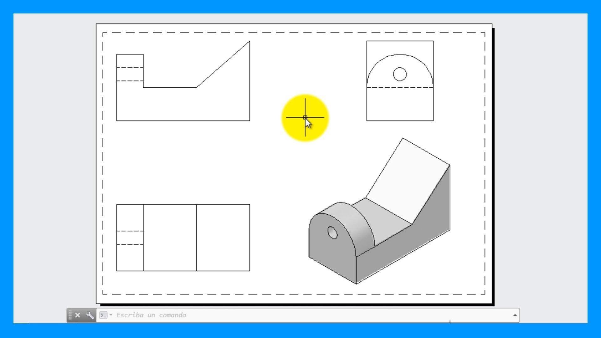 Autocad – Crear vistas a partir de una pieza o modelo 3D. Vistas 2D desde 3D.