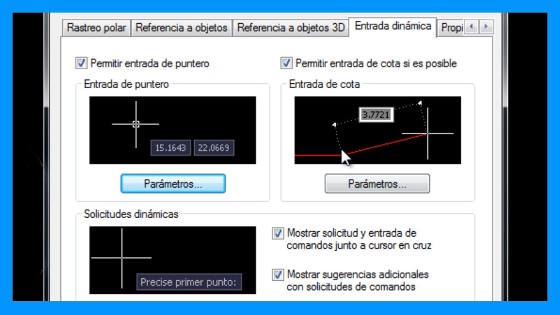 Autocad – Entradas dinámicas. Mostrar información junto al cursor de Autocad.