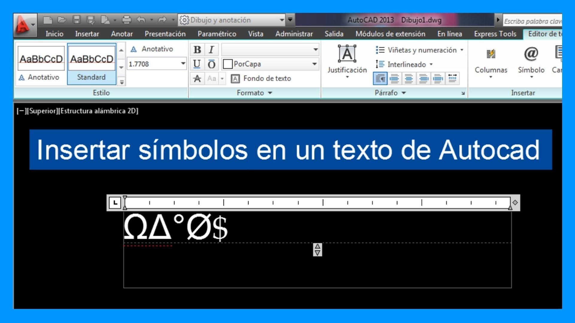 Autocad – Insertar símbolos en texto. Introducir símbolos en Autocad.