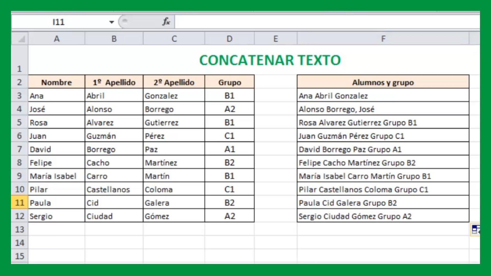 Excel – Concatenar texto. Unir textos de celdas en Excel.