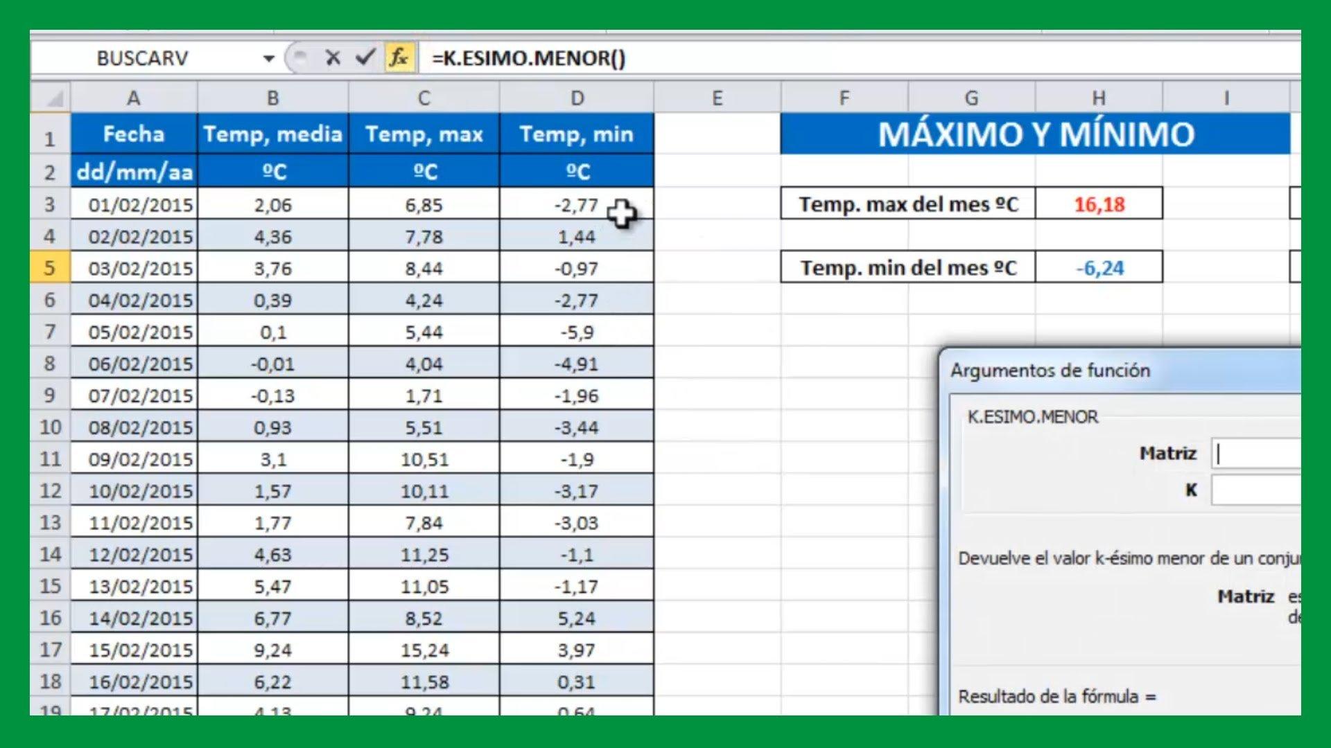 Excel – Valores máximo y mínimo de un rango de celdas.