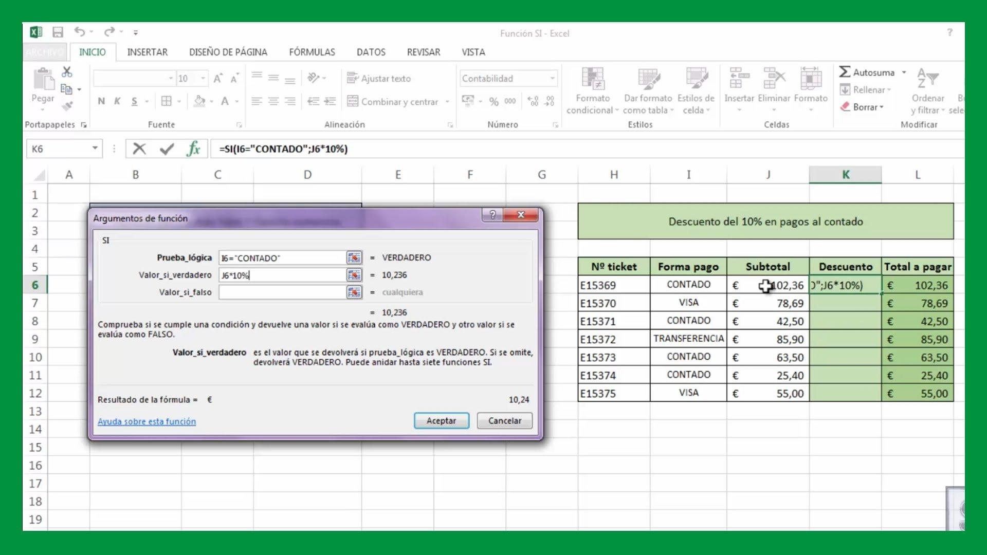 Excel – Función SI en Excel. Función lógica SI.