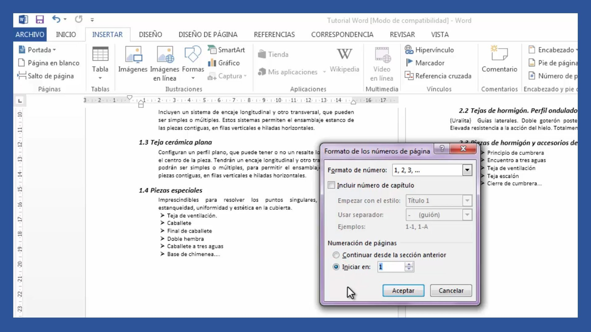 Word – Insertar número de página desde cualquier página en Word.