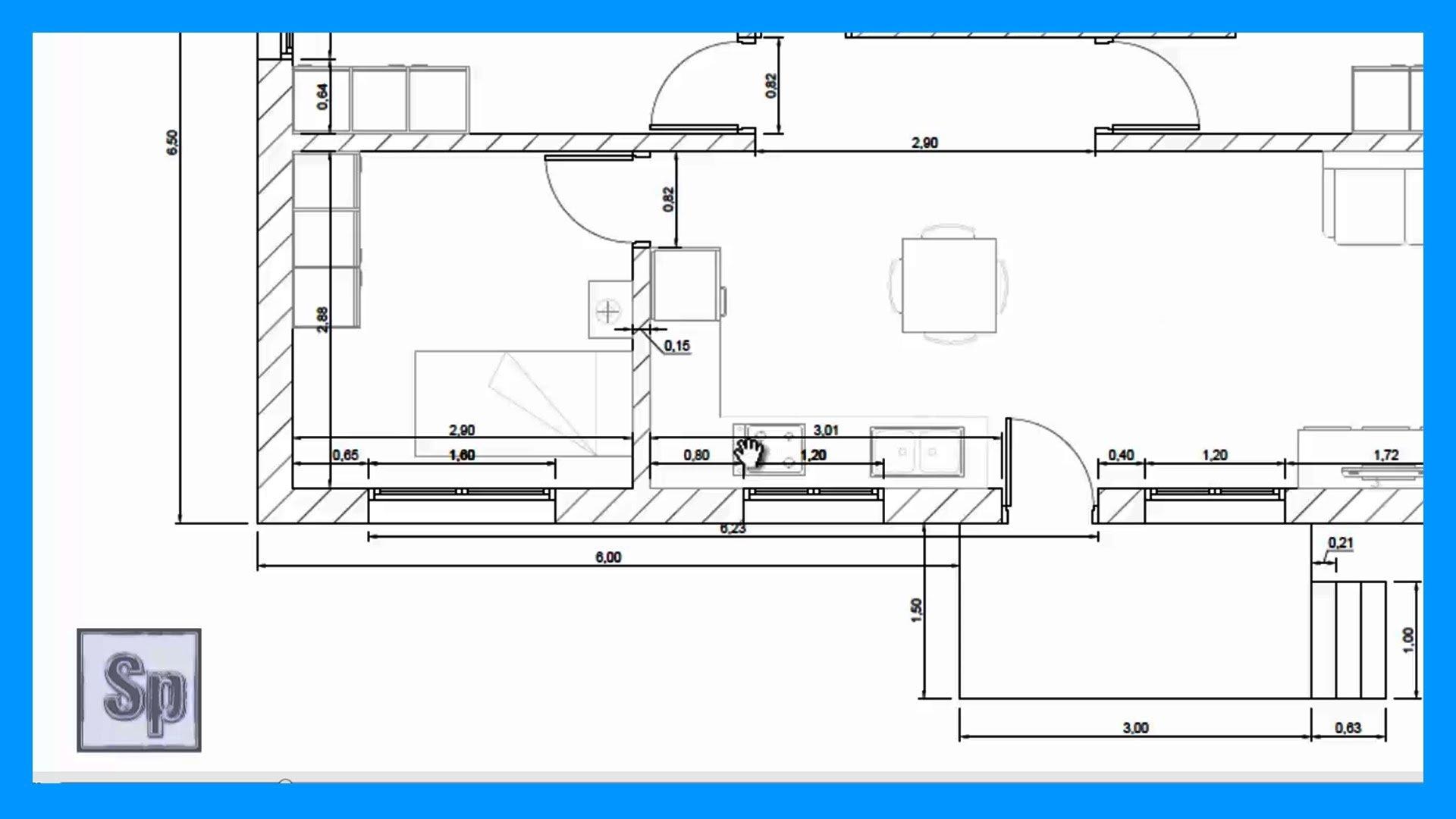 Autocad – 1/2 Dibujar plano de una casa de una planta en Autocad
