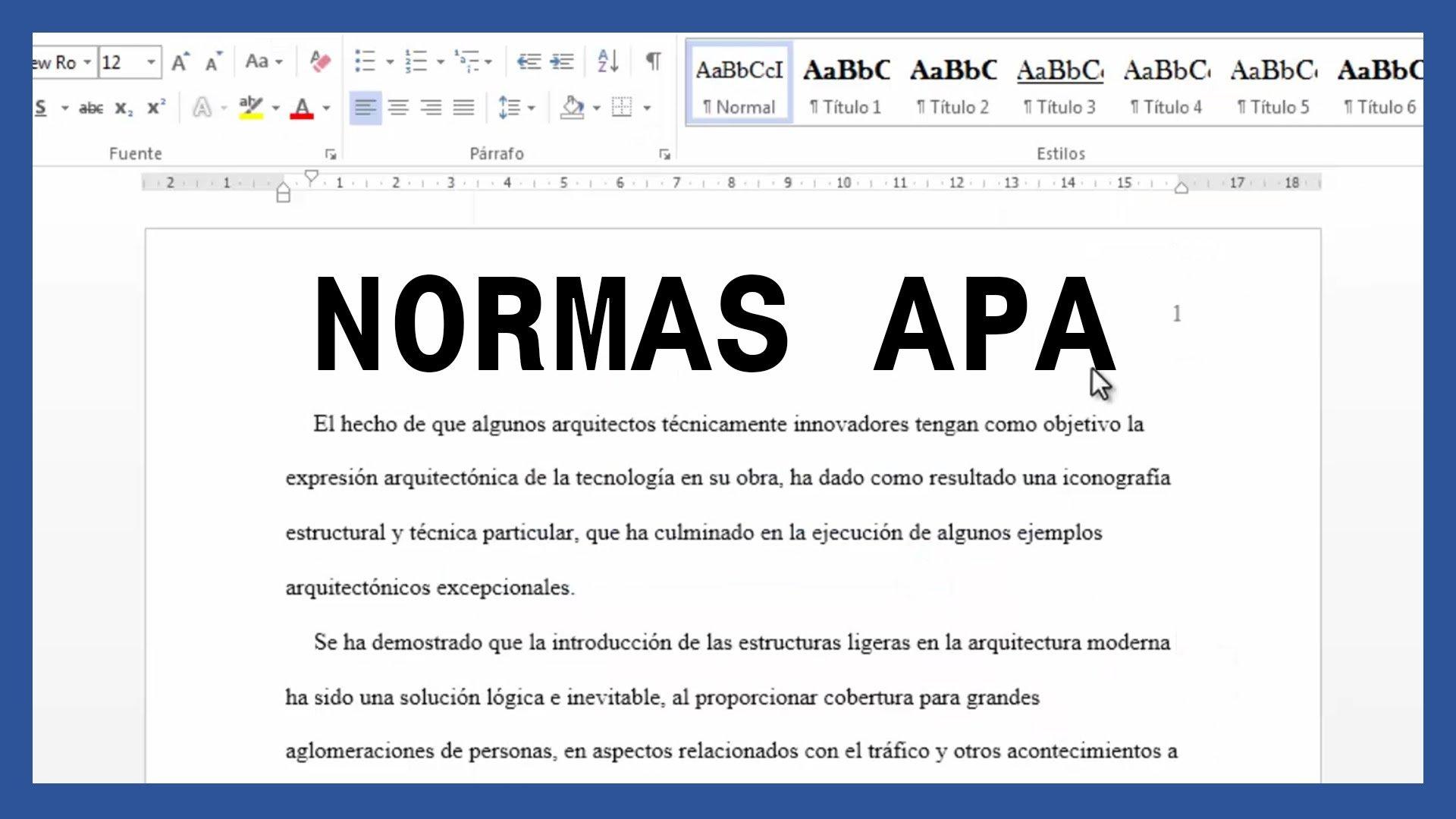 Word – Márgenes, textos y paginado según normas APA.