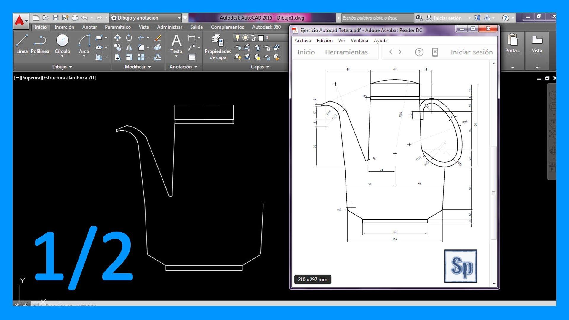 Autocad – 1/2 Ejercicio paso a paso dibujar tetera 2D en Autocad.