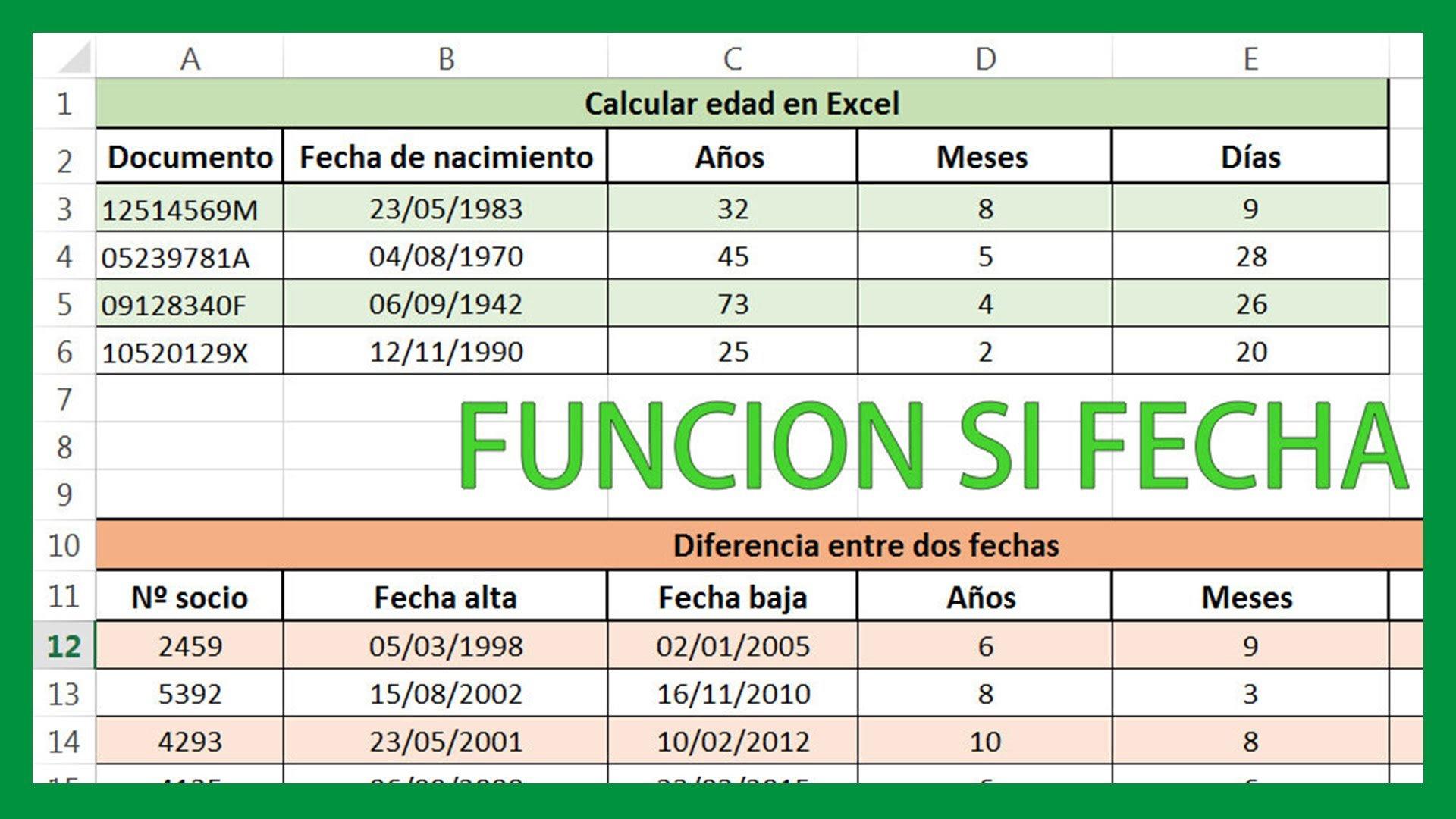 Excel – Calcular edad en Excel. Calcular diferencia entre fechas.