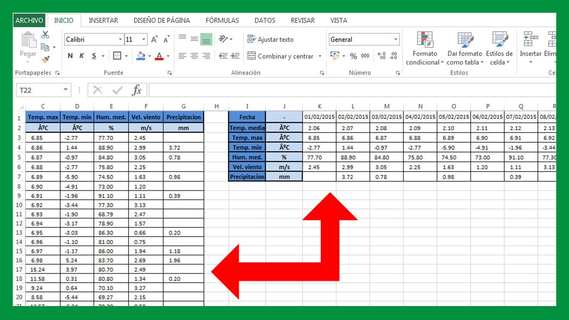 Cambiar de filas a columnas en Excel y viceversa
