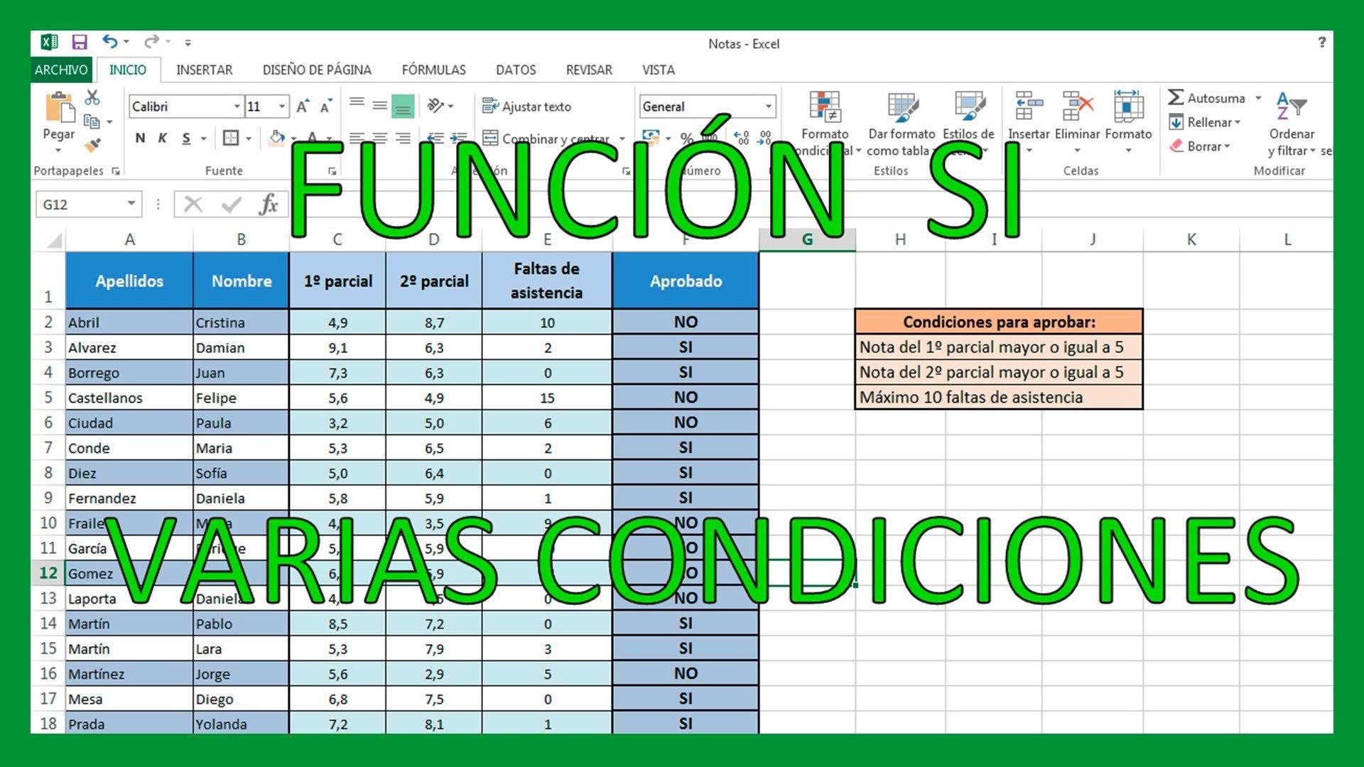 Excel – Función SI con varias condiciones.