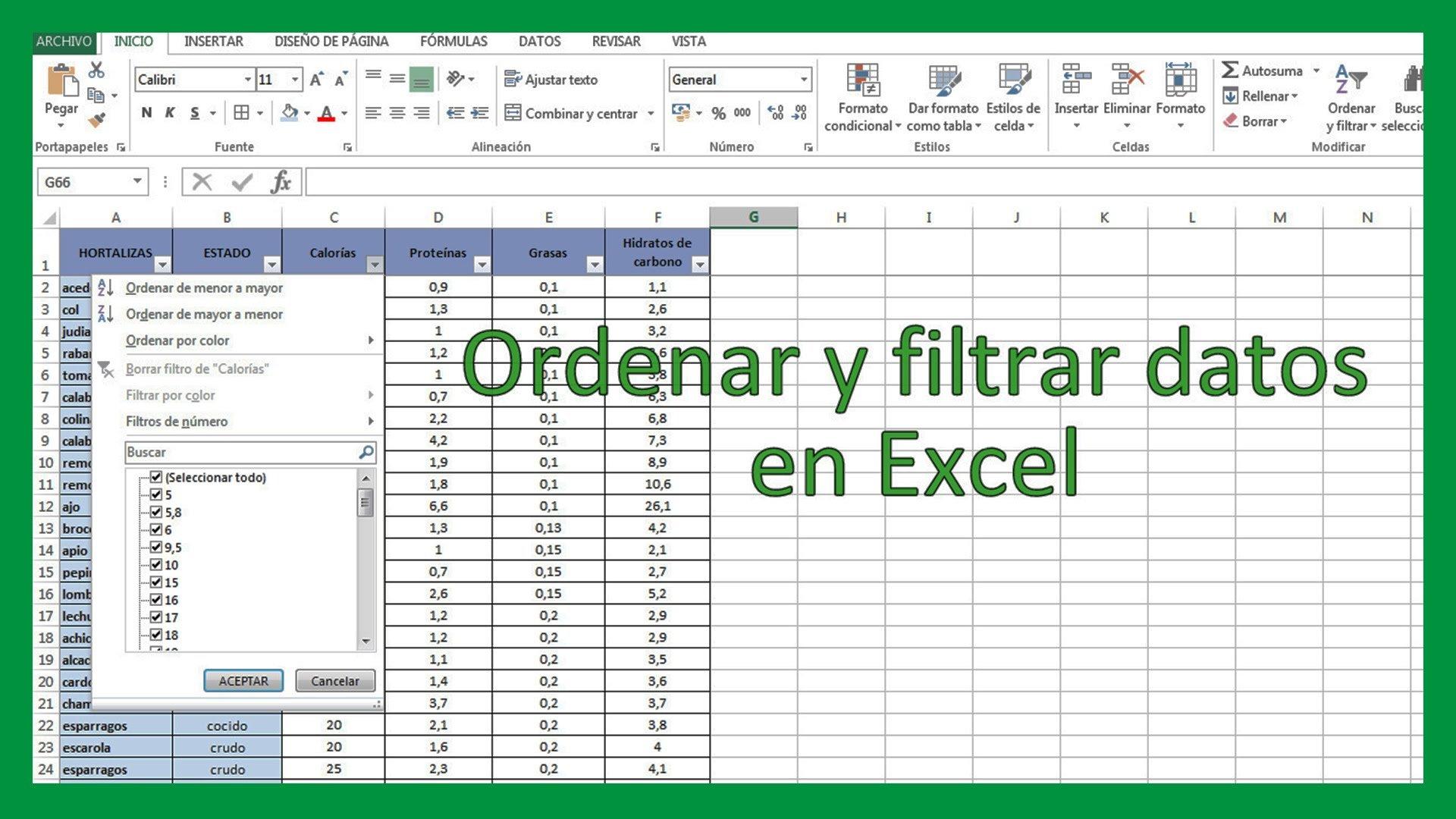 Excel – Ordenar y filtrar datos en Excel.