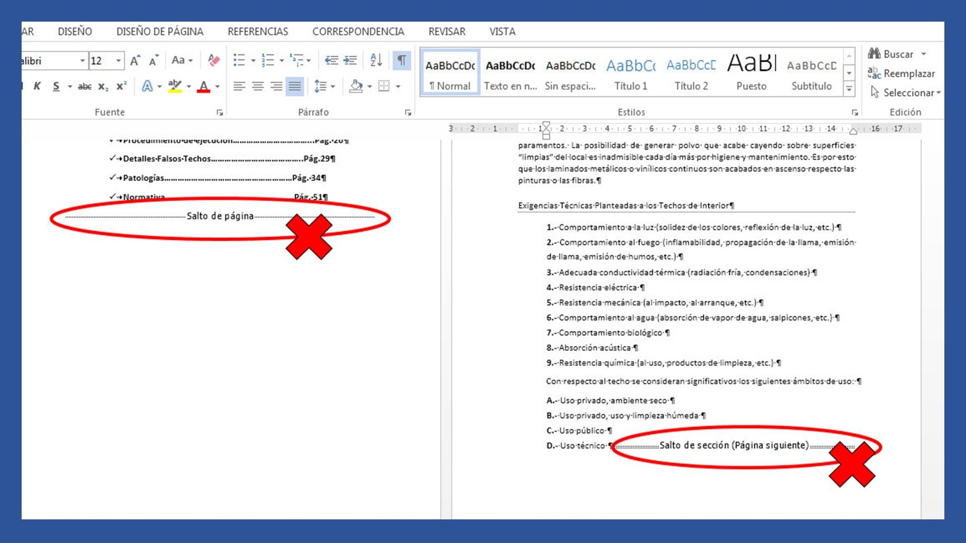 Word – Eliminar saltos de sección, saltos de página, línea