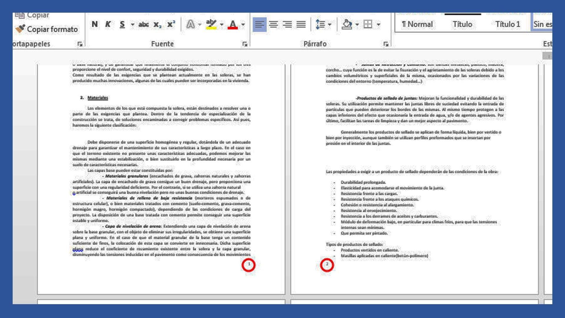 Word – Números de página a izquierda y derecha, páginas pares e impares.