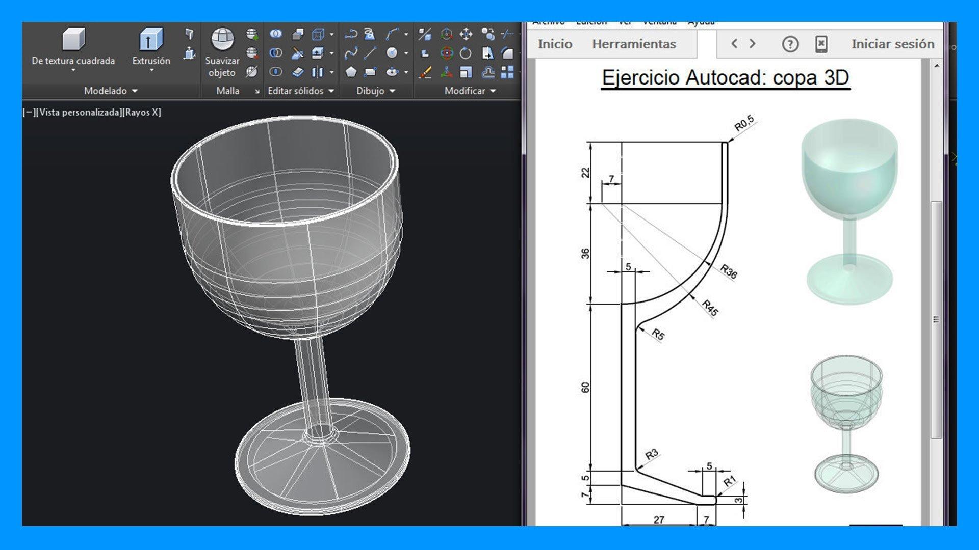 Ejercicios en Autocad 3D; dibuja una copa paso paso