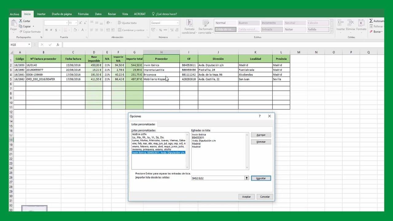 Excel – Crear listas personalizadas