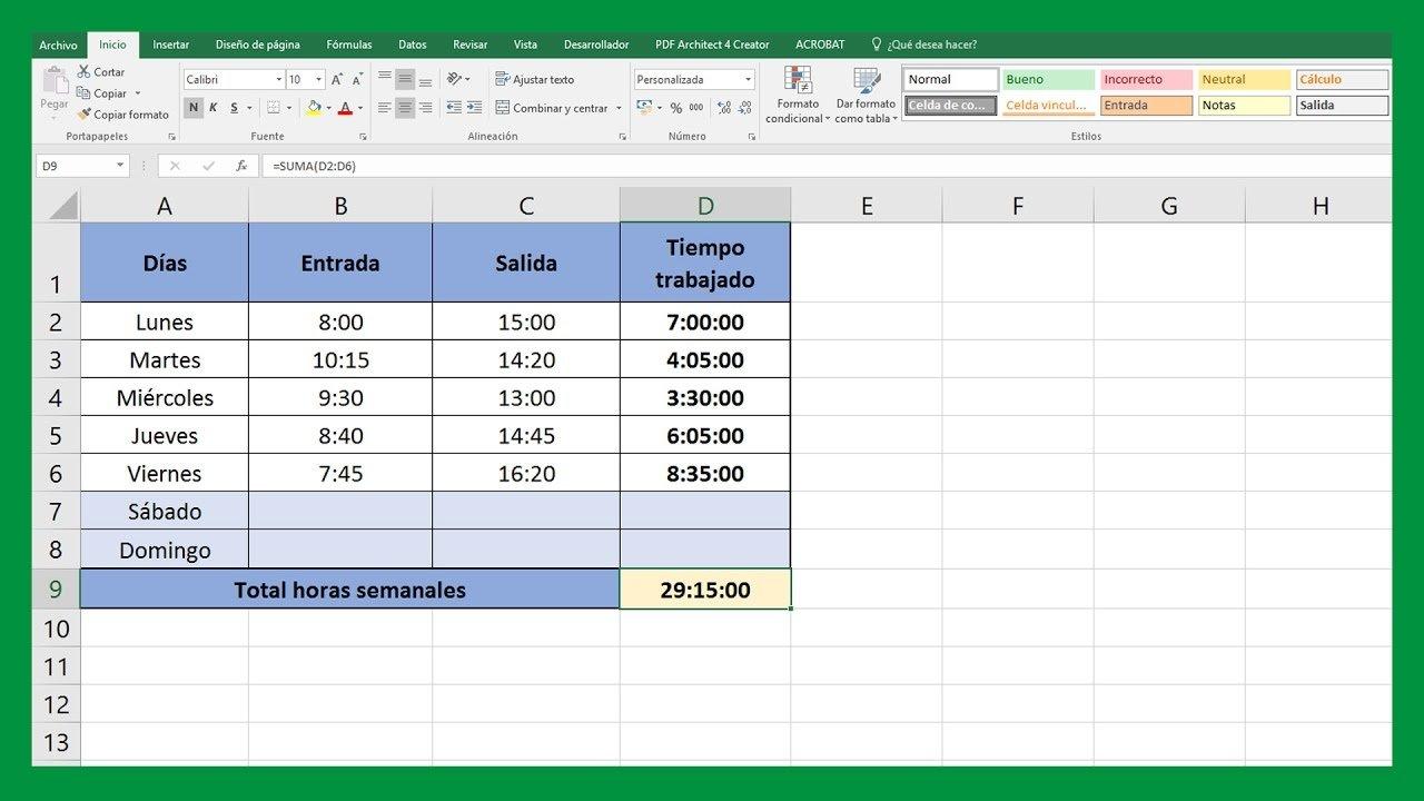 Excel- Sumar y restar horas, minutos y segundos