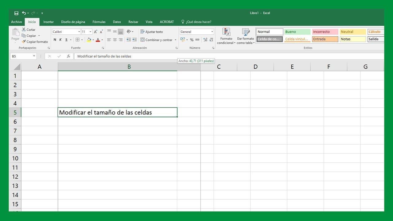 Excel – Modificar tamaño de celdas. Ajustar la celda a la longitud del texto.