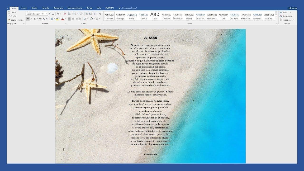 Word – Cómo insertar un imagen de fondo en Word. Imagen detrás del texto.