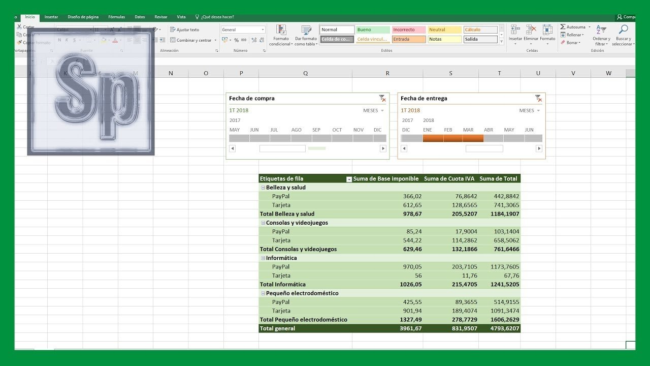 Excel – Agrupar fechas con escalas de tiempo