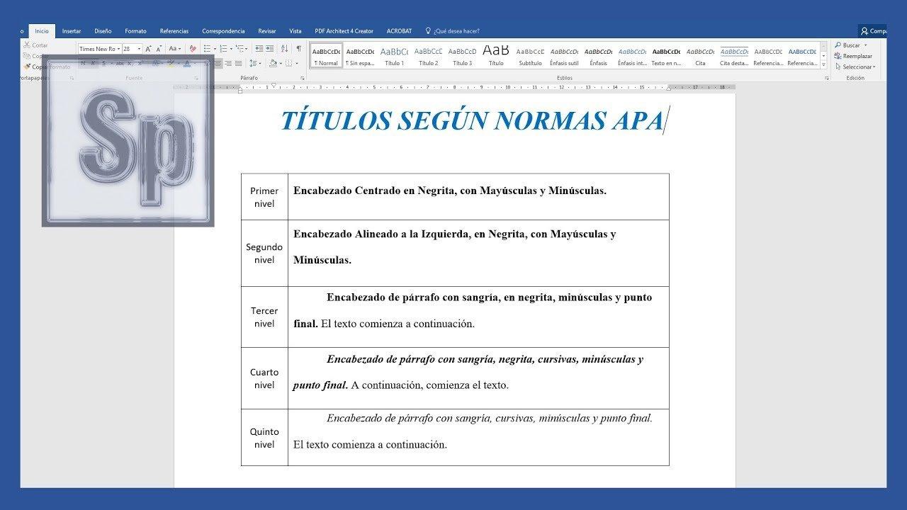 Word – Títulos según APA sexta edición