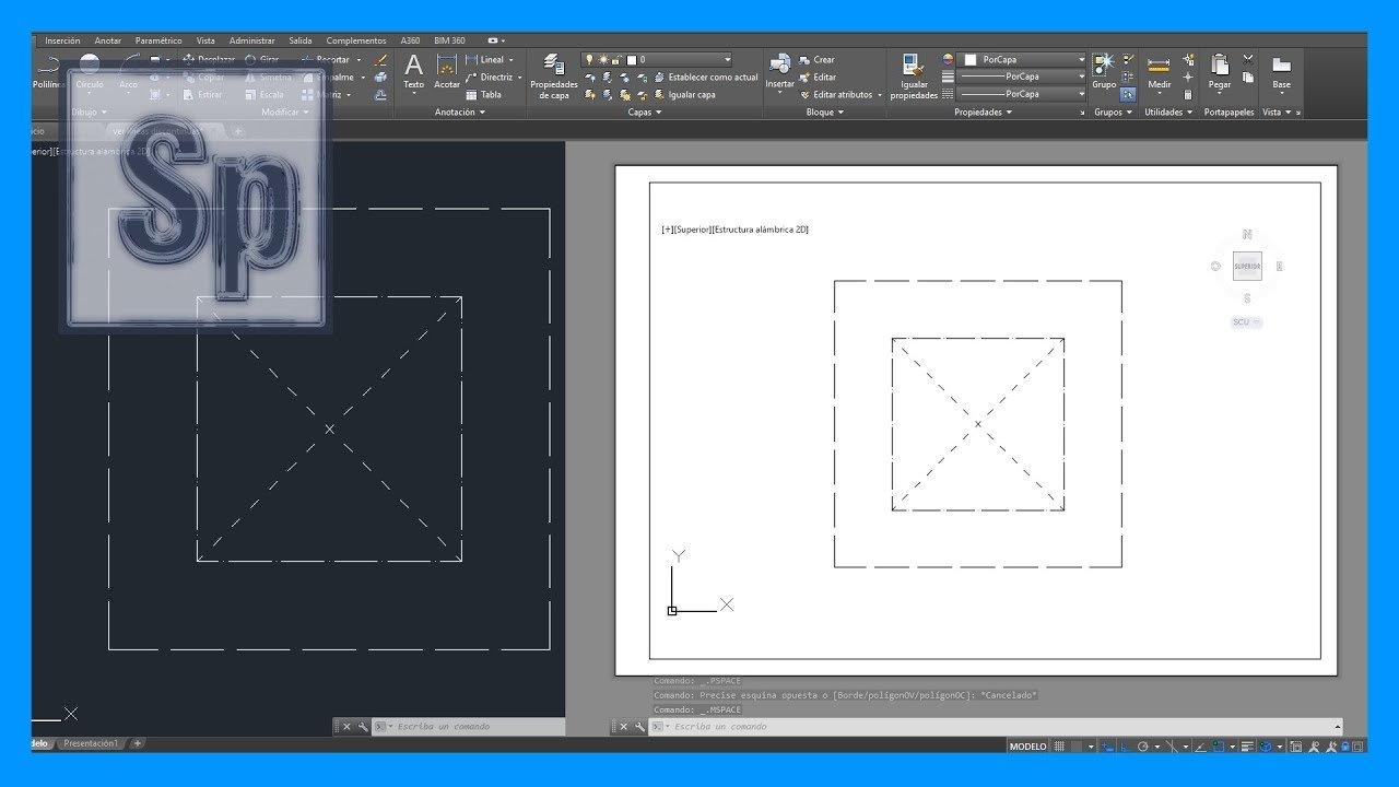 Líneas discontinuas en Autocad, presentación o layout.