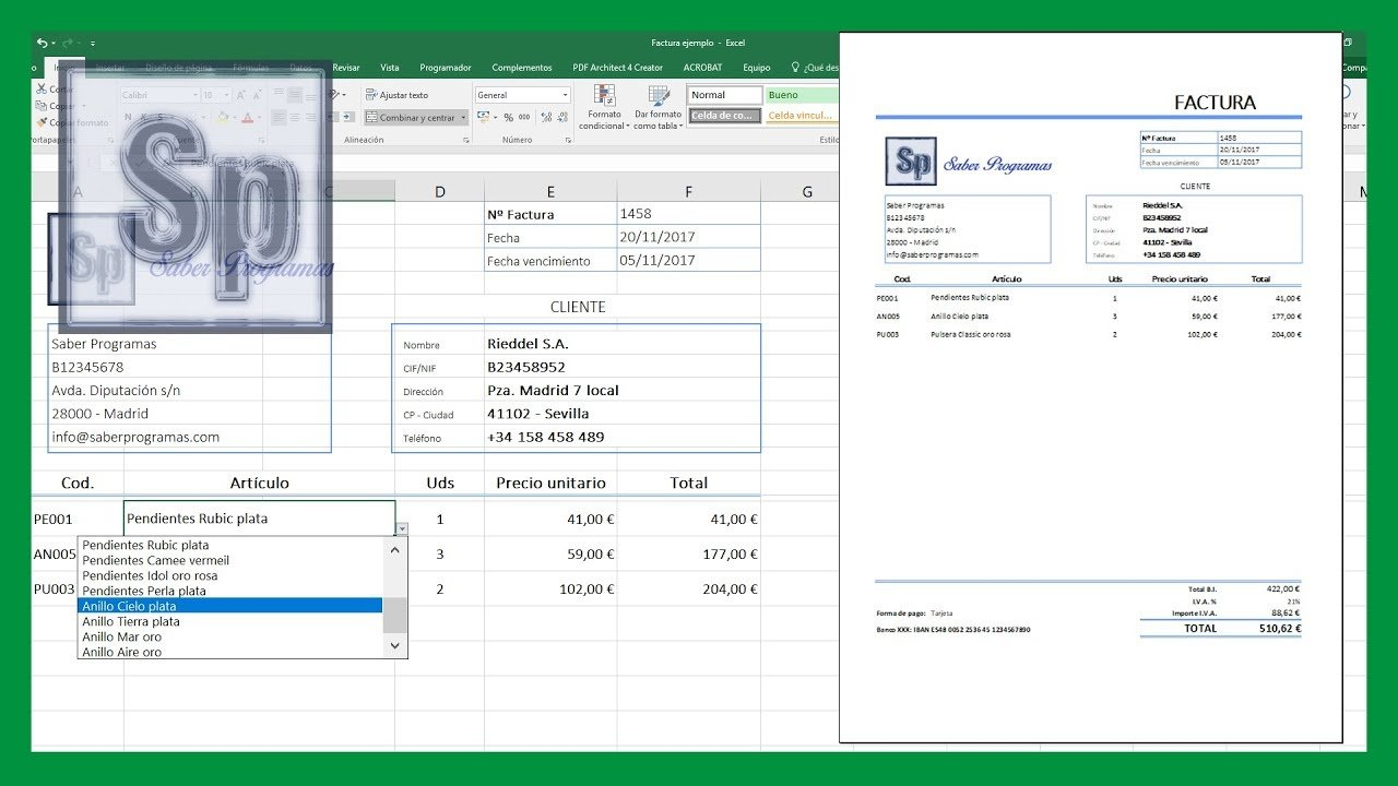 Excel – Crear factura automática en Excel
