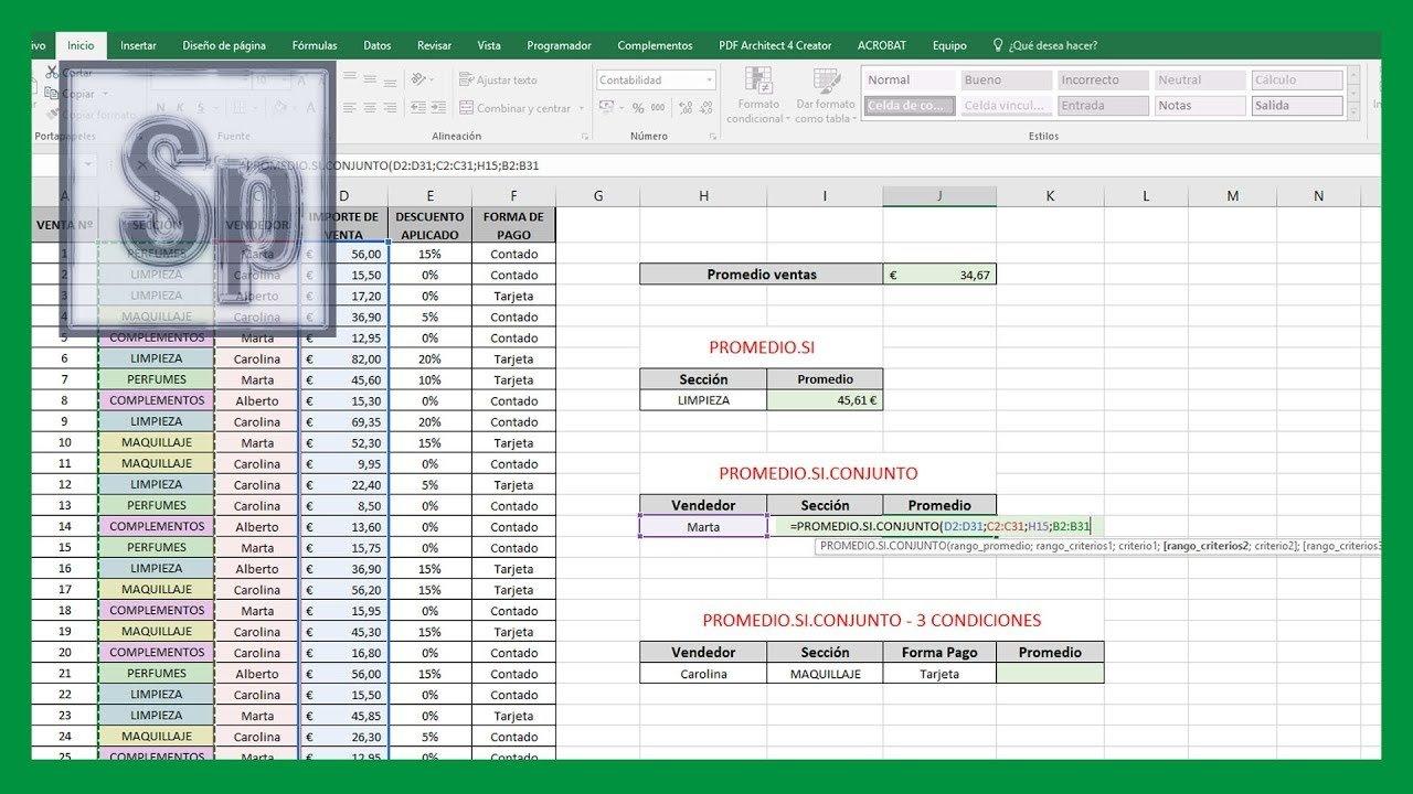 Excel – Cómo usar función PROMEDIO, PROMEDIO.SI y PROMEDIO.SI.CONJUNTO