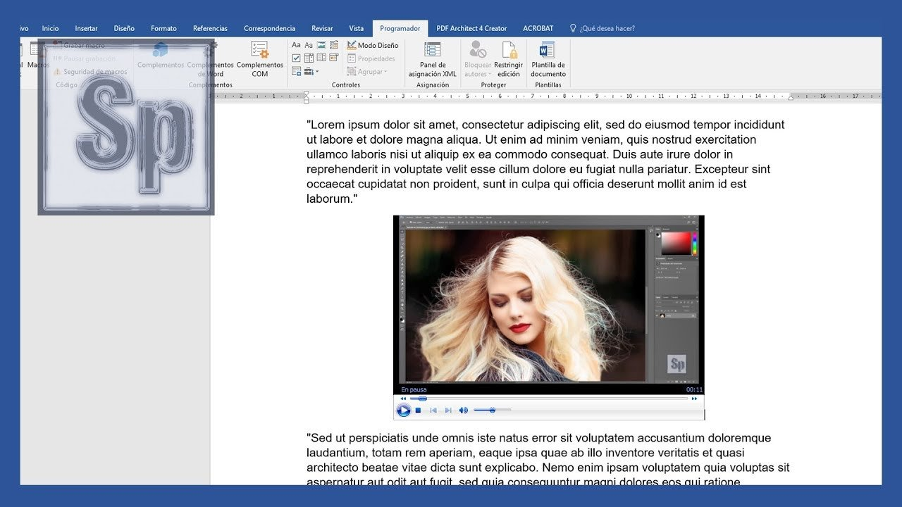 Word – Insertar vídeo en Word, desde YouTube o PC
