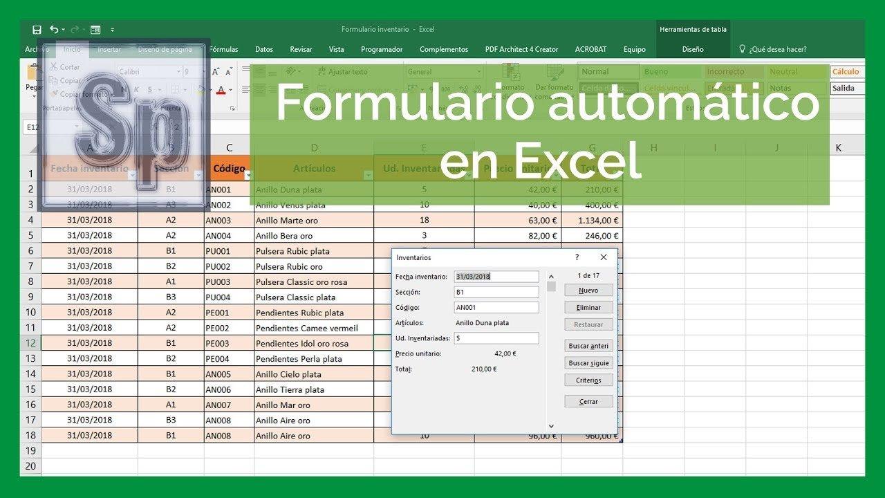 Excel – Utilizar formularios en Excel