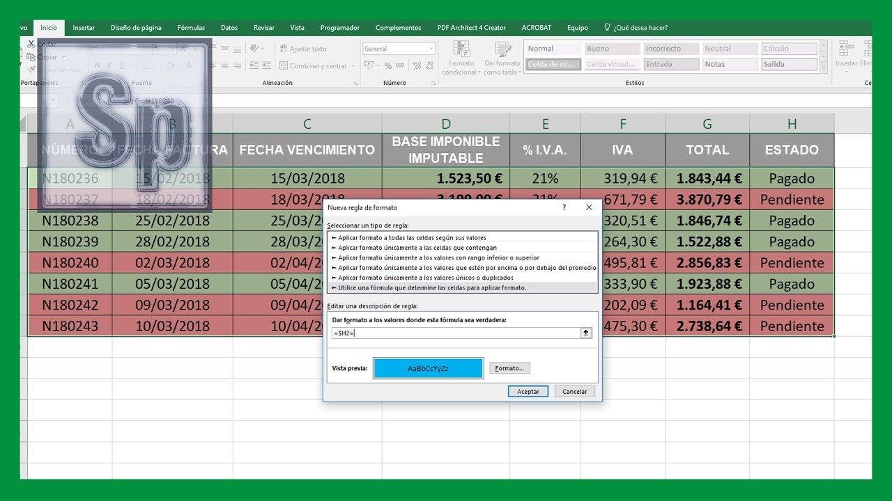 Cambiar color de filas en Excel en función de texto