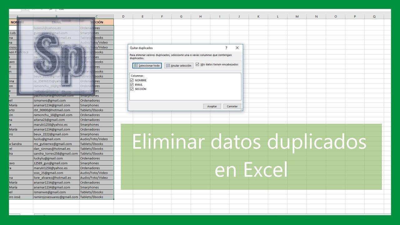 Eliminar datos duplicados en Excel