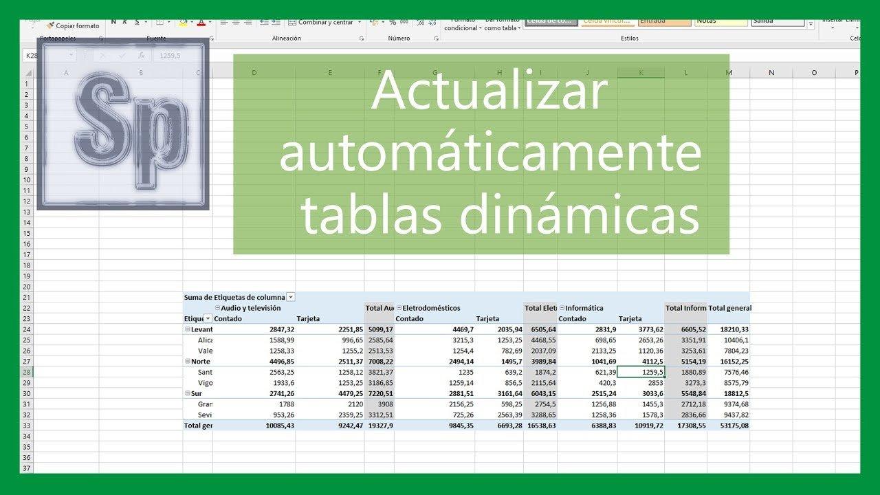 Excel – Actualizar automáticamente tablas dinámicas
