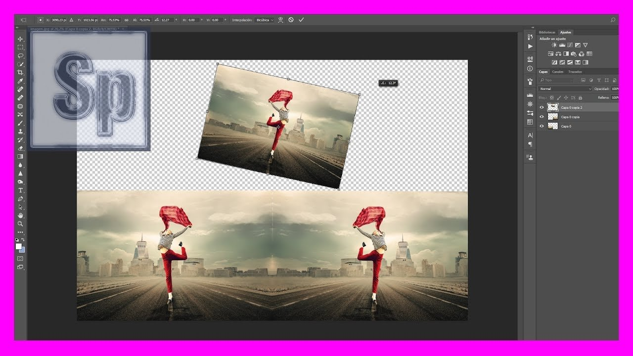 Cómo invertir/voltear y girar una imagen en Photoshop