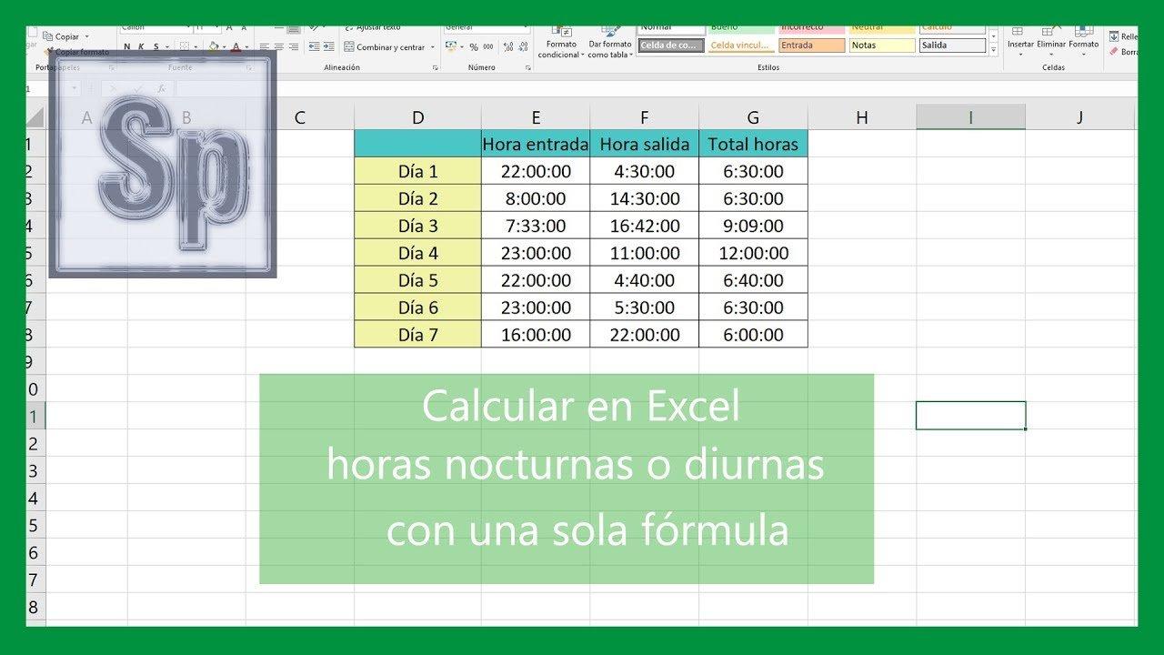 Excel – Calcular horas turno nocturno o diurno con una sola fórmula