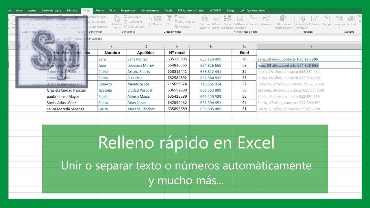 Relleno rápido en Excel. Unir o separar nombres sin fórmulas