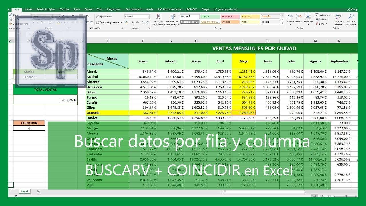 Buscar por fila y columna en Excel; BUSCARV y COINCIDIR