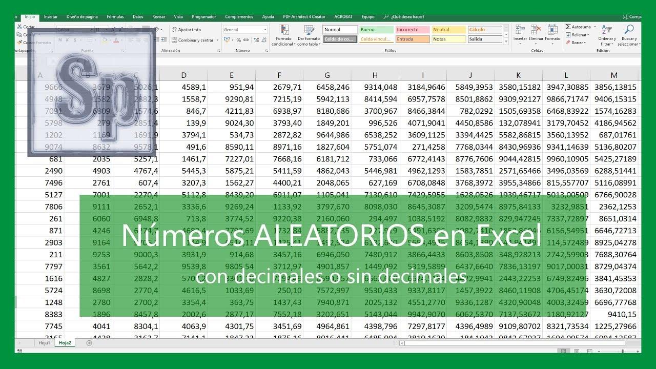 Generar números aleatorios en Excel