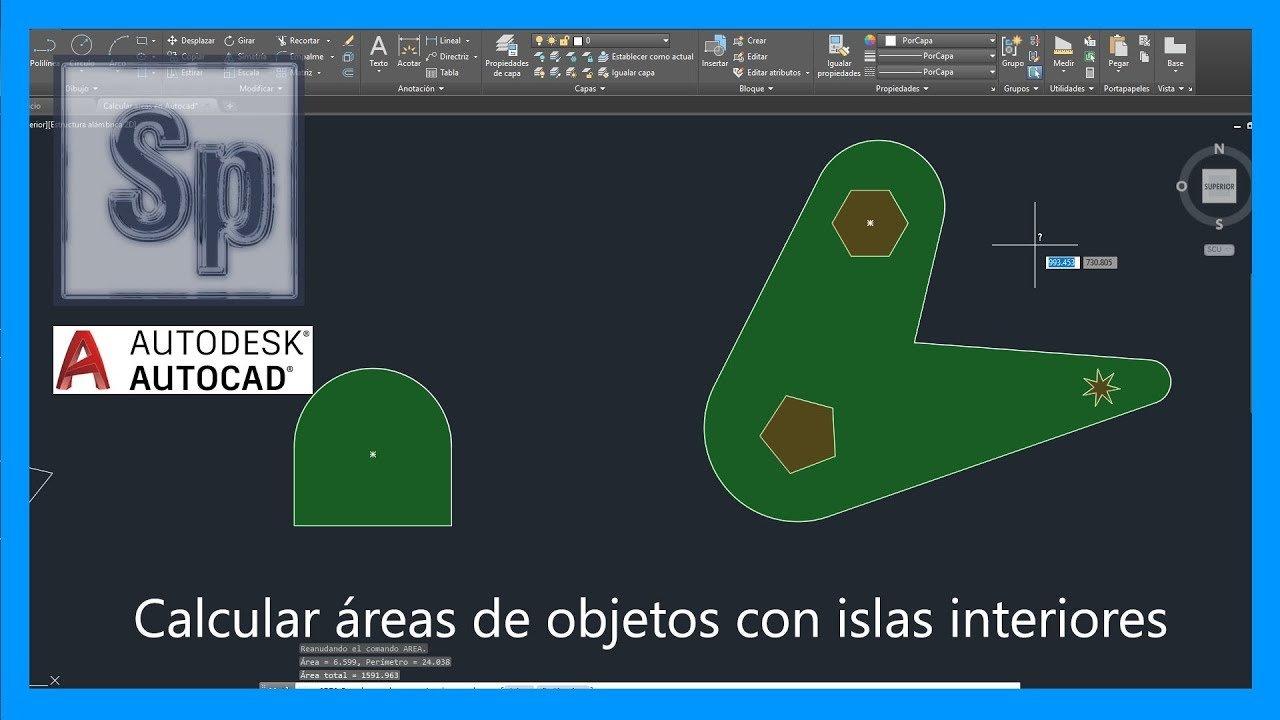 Calcular áreas en Autocad y medir áreas con islas interiores