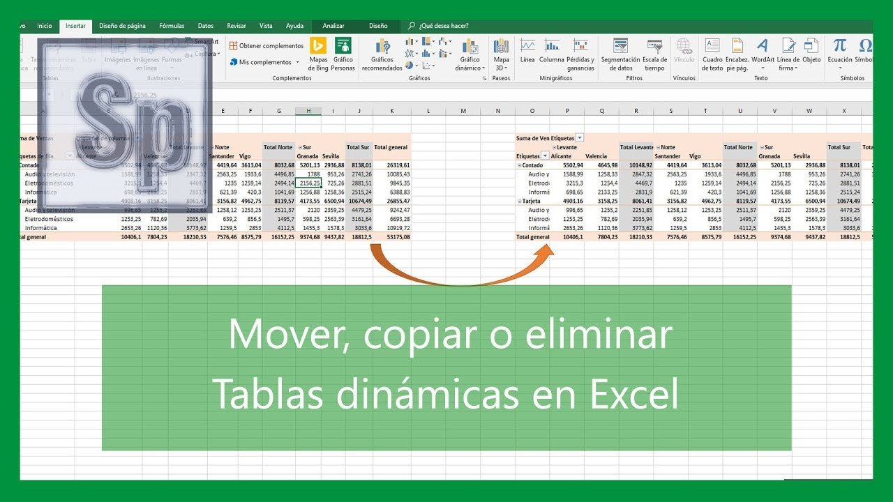 Mover copiar y eliminar tablas dinámicas en Excel