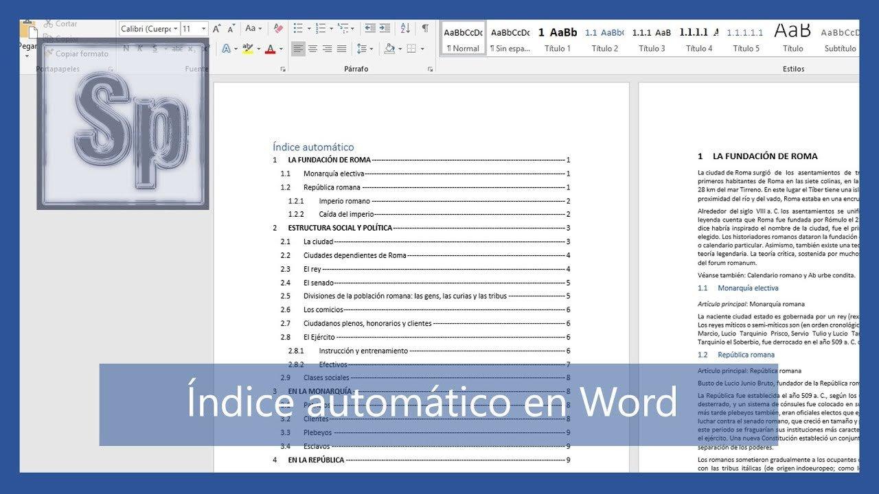 Índice automático en Word con numeración de títulos y páginas
