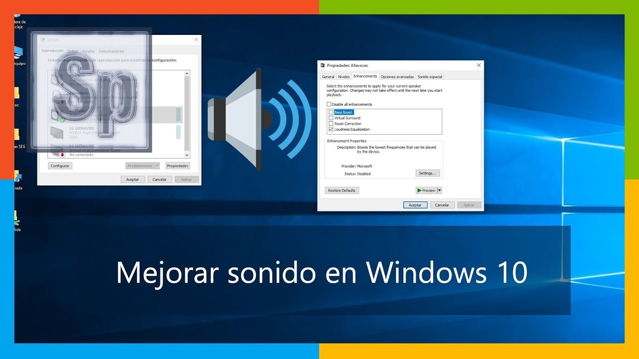 Cómo mejorar sonido en Windows 10