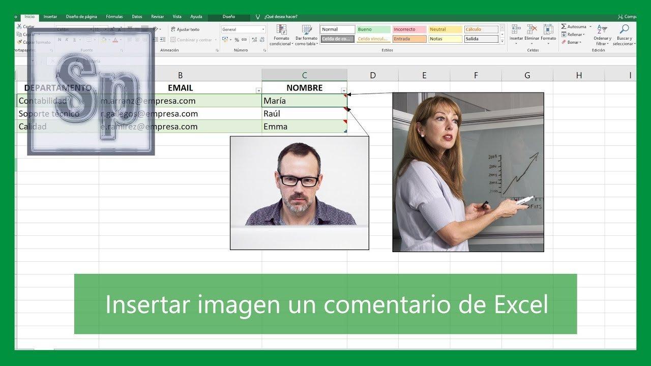 Insertar imagen en comentario de Excel