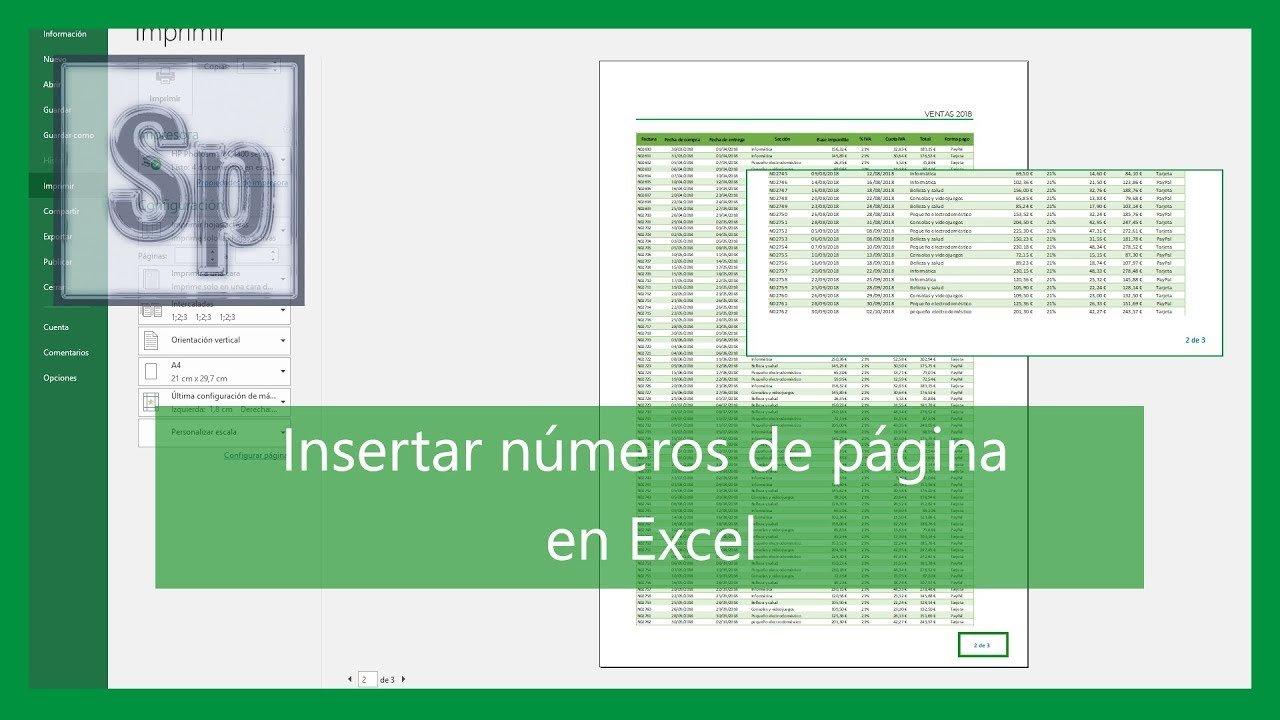 Insertar números de página en Excel