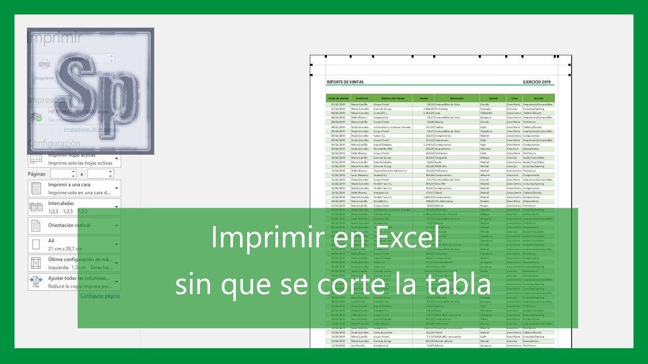 Imprimir correctamente en Excel sin que se corte la tabla ?