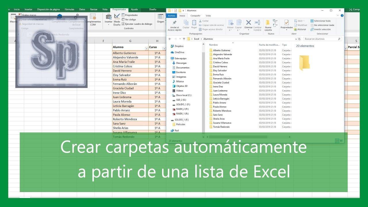 Crear carpetas a partir de una lista de Excel