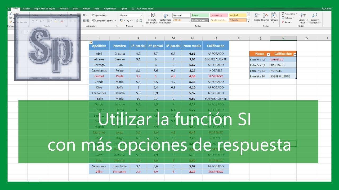 Excel – Función SI con varias respuestas