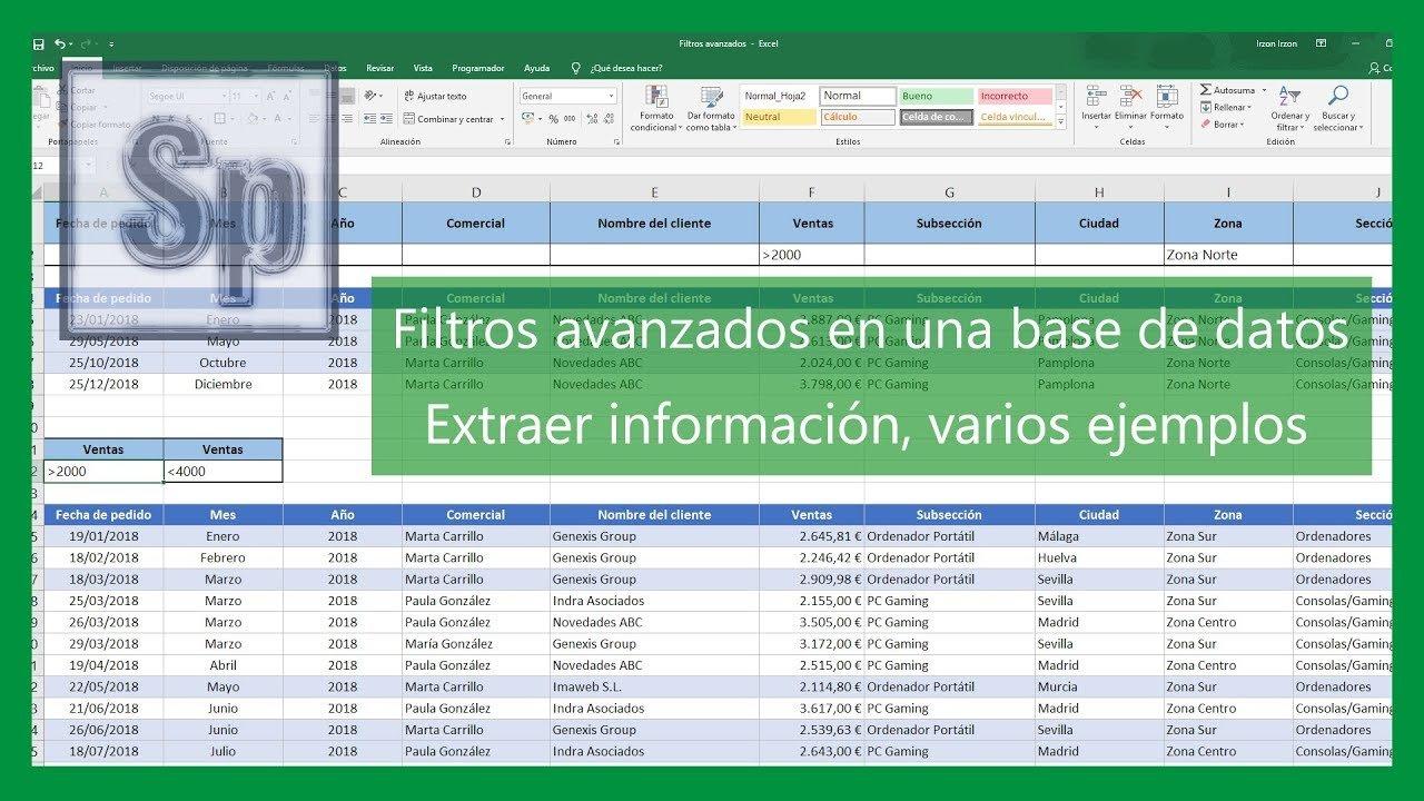 Filtros avanzados en una base de datos Excel